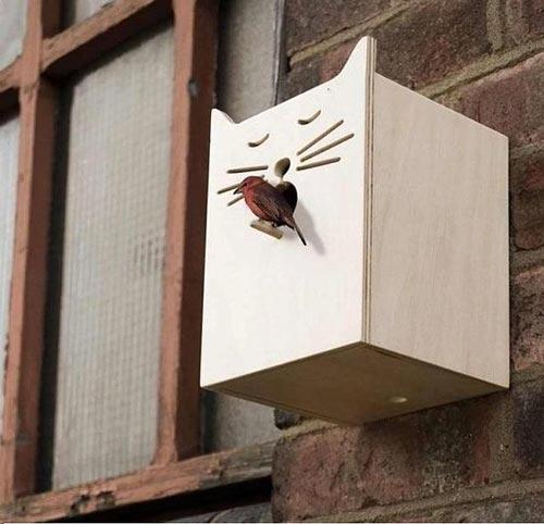 vogelhuisje in de vorm van een kat