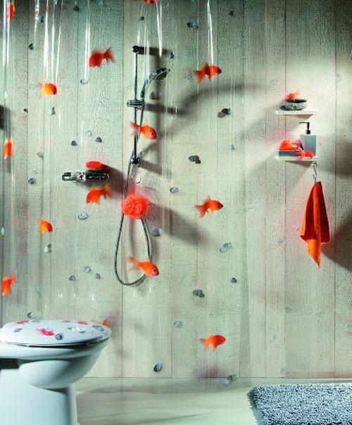douchegordijn met goudvissen