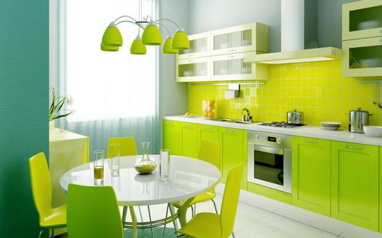 geelgroene moderne keuken