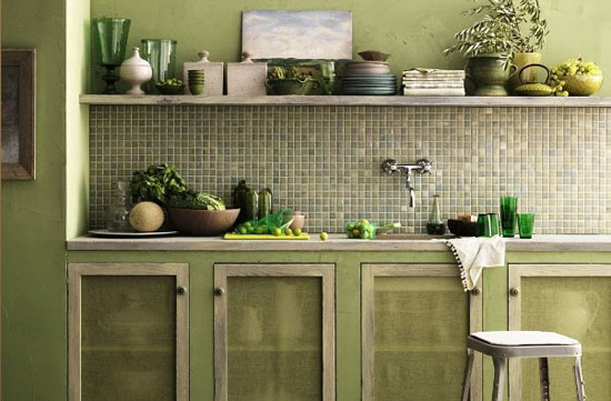 Keuken Olijfgroen : Olive Green Color Kitchen Cabinets