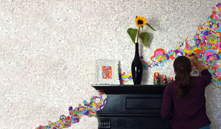 Behangpapier om in te kleuren woonmooi - Behang voor volwassen slaapkamer ...