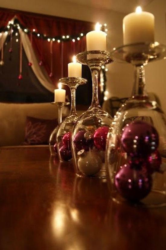 glazen kerstkandelaar
