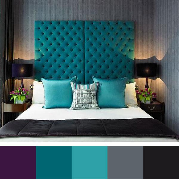 cyaan kleurenpalet slaapkamer