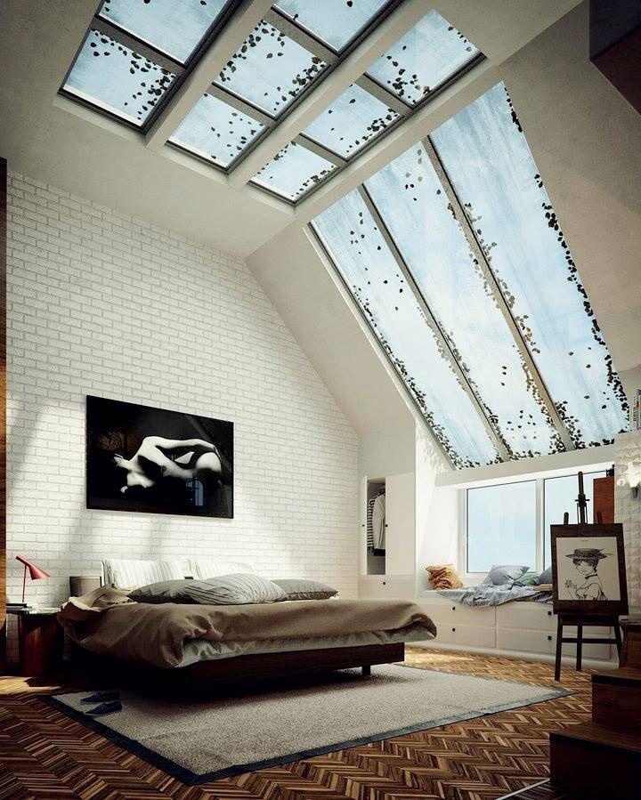 afgewerkte zolder met grote dakramen