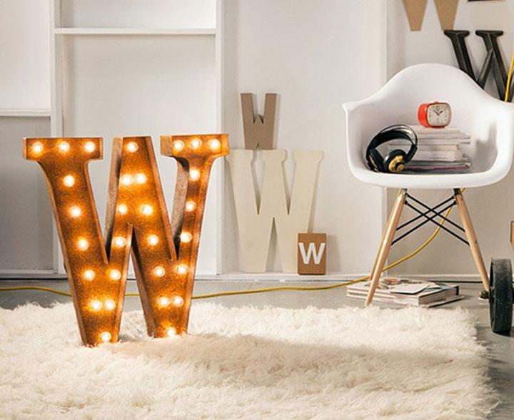 lichtgevende letter w