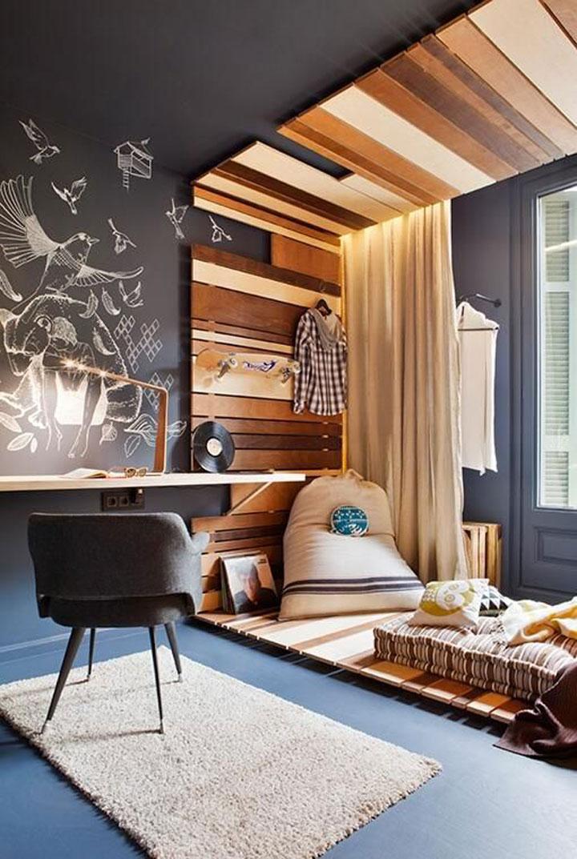 gebruik van verschillende texturen in een slaapkamer