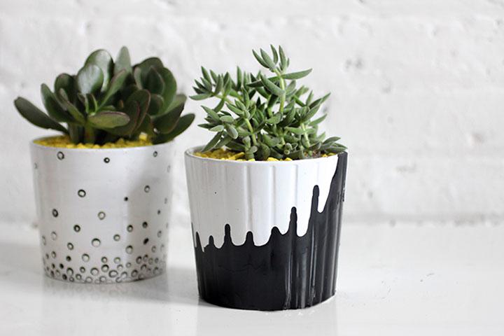 zwart-wit bloempotten diy