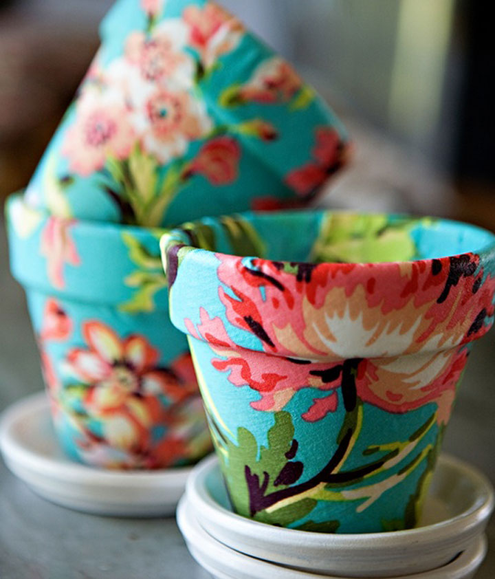 bloempot versiert met stof