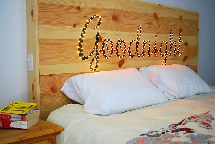 diy hoofdbord bed met verlichting