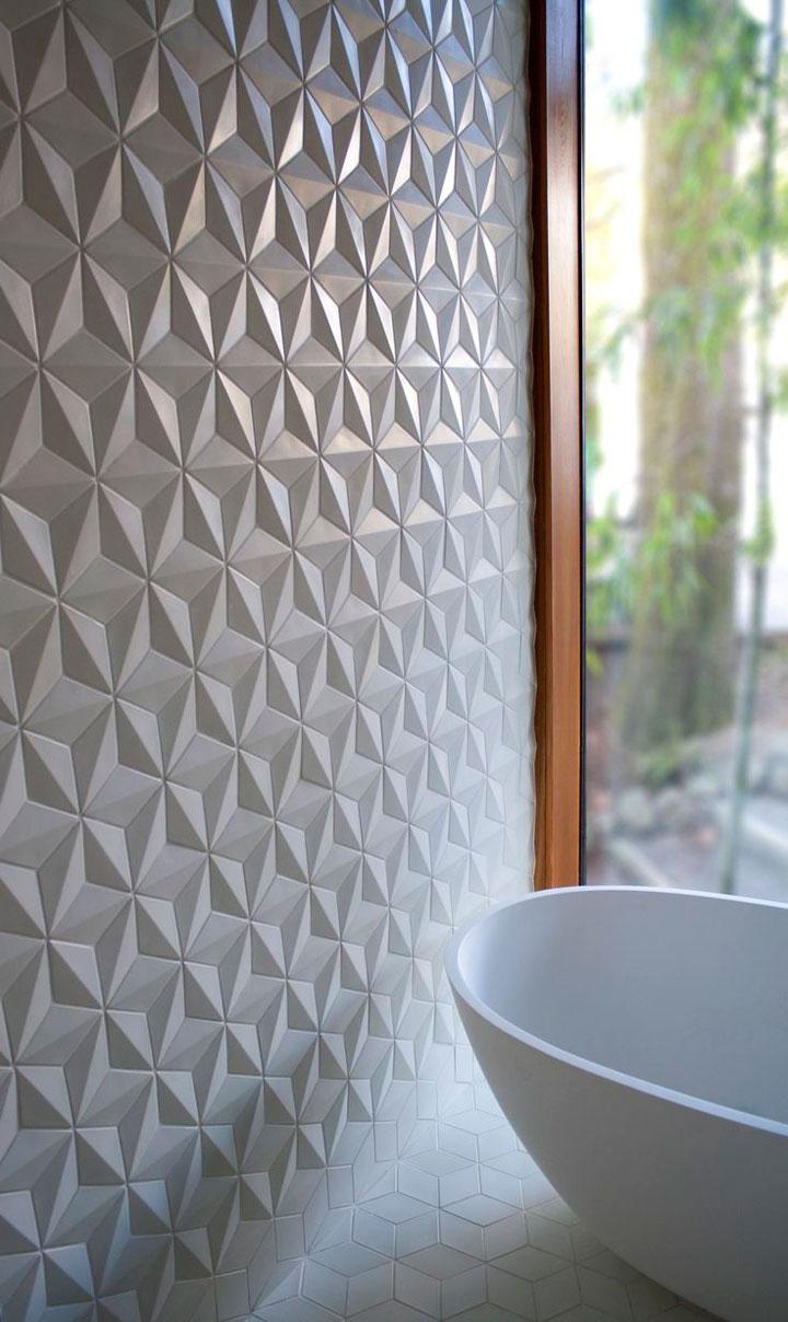 witte badkamertegels met een 3D effect