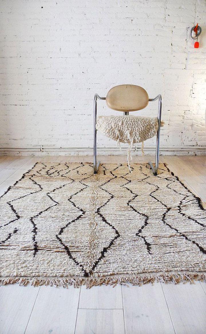 wit tapijt met marokkaans design