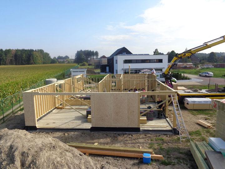 opbouw van een houtskeletbouw woning muren