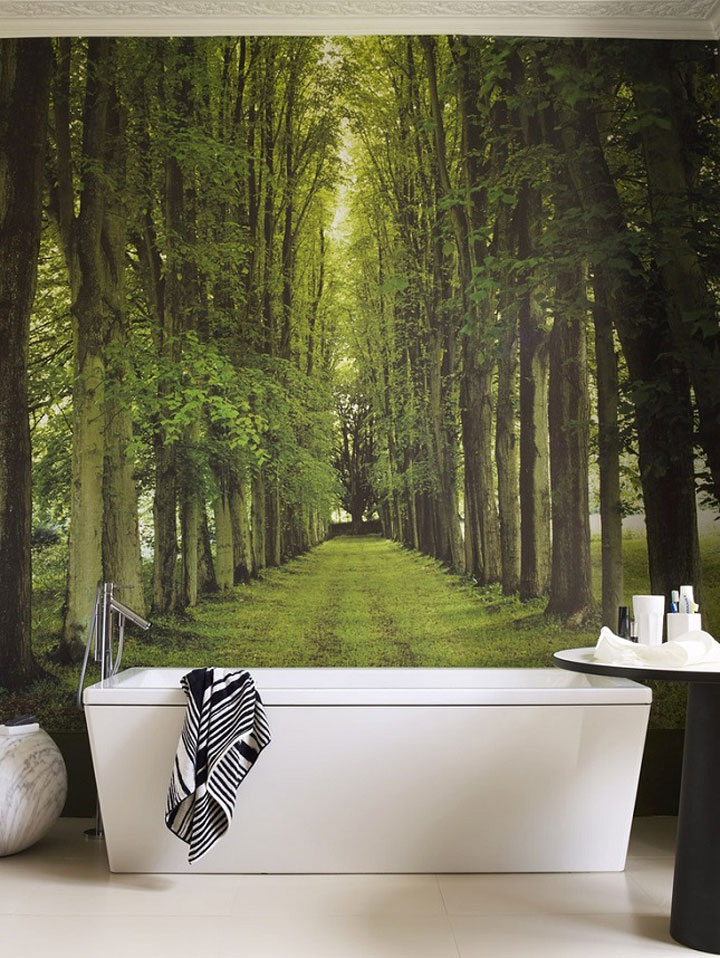 Behangpapier in de badkamer waarom niet woonmooi for Bathroom mural wallpaper