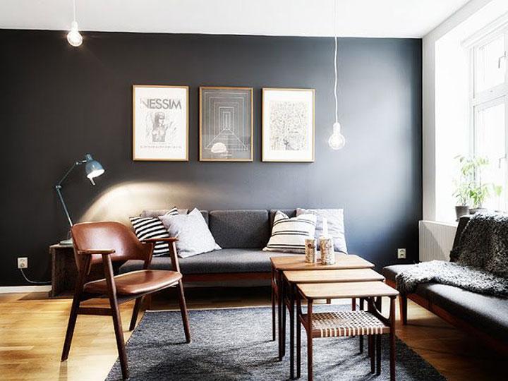 woonkamer met donkere kleuren