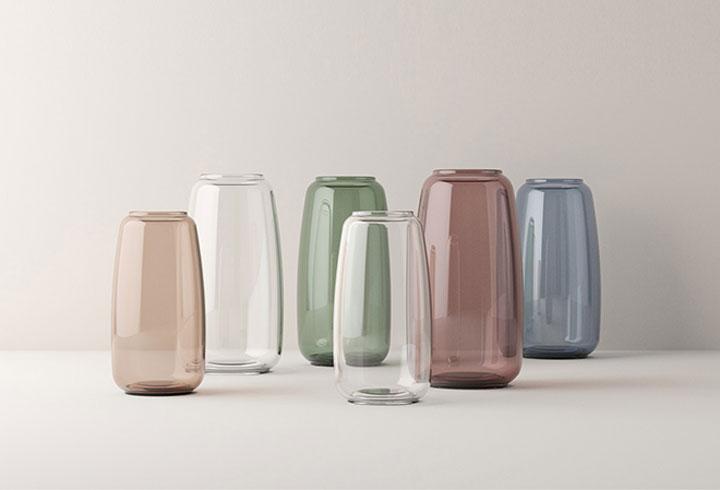 lyngby vazen van gekleurd glas
