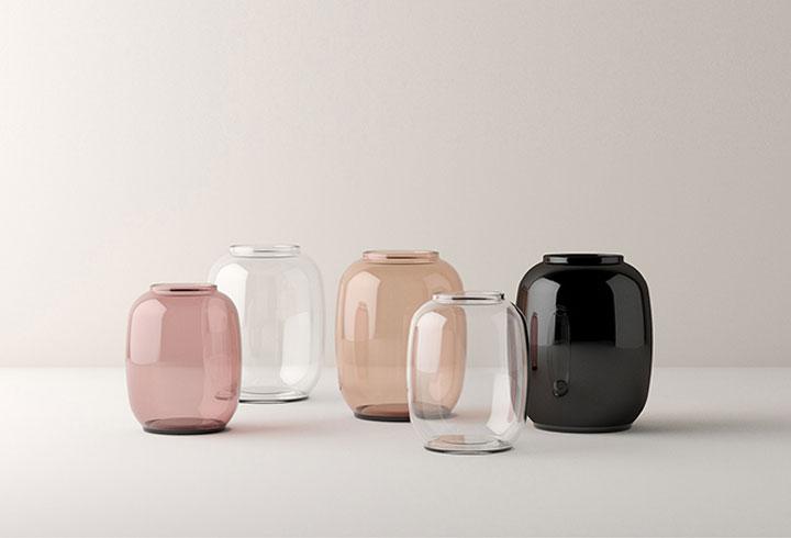 gekleurde glazen vazen van lyngby