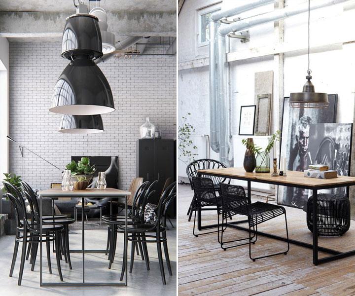 eetkamer in een industriele stijl