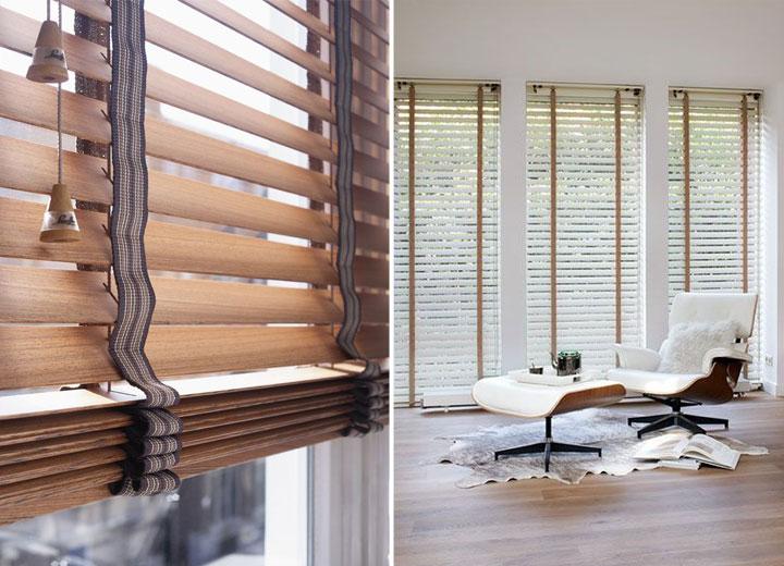 raamdecoratie zonwering houten jaloezieen