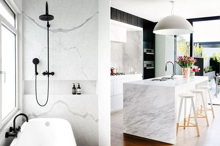marmeren badkamer en keukenblad