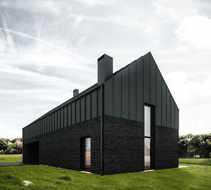zwarte bakstenen met aluminium panelen