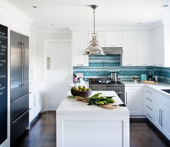 keuken spatwand tegels blauw