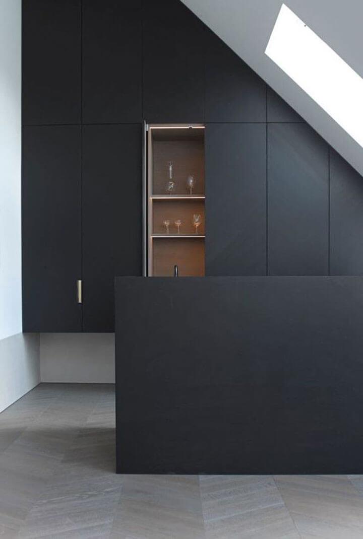 mat zwarte keukenkasten