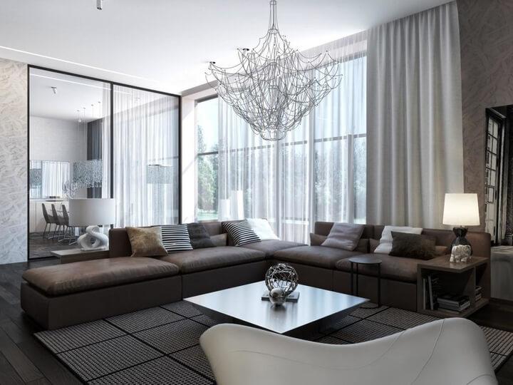design woonkamer sofa gordijnen spiegel