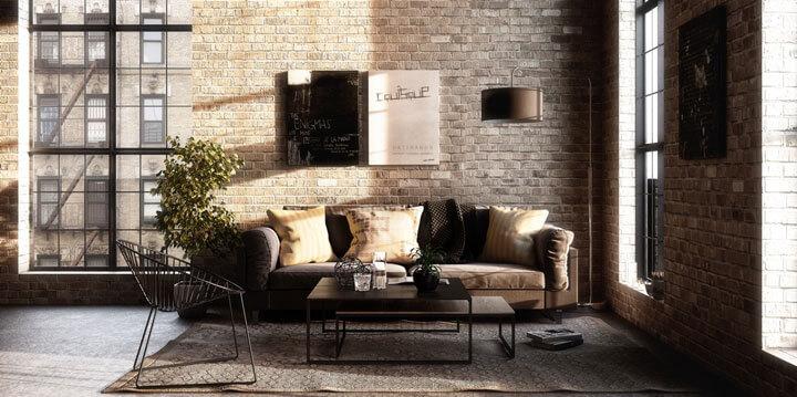 woonkamer industriele stijl