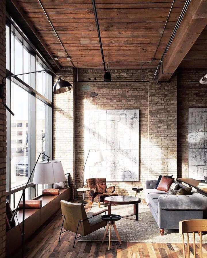 industriele loft met hoge plafonds