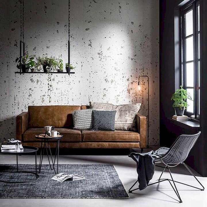 bruine zetel in industriele woonkamer