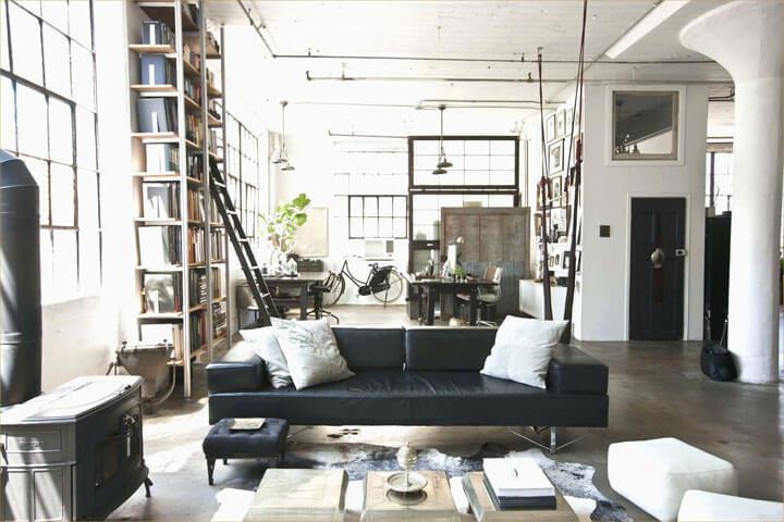 woonkamer in industriele stijl