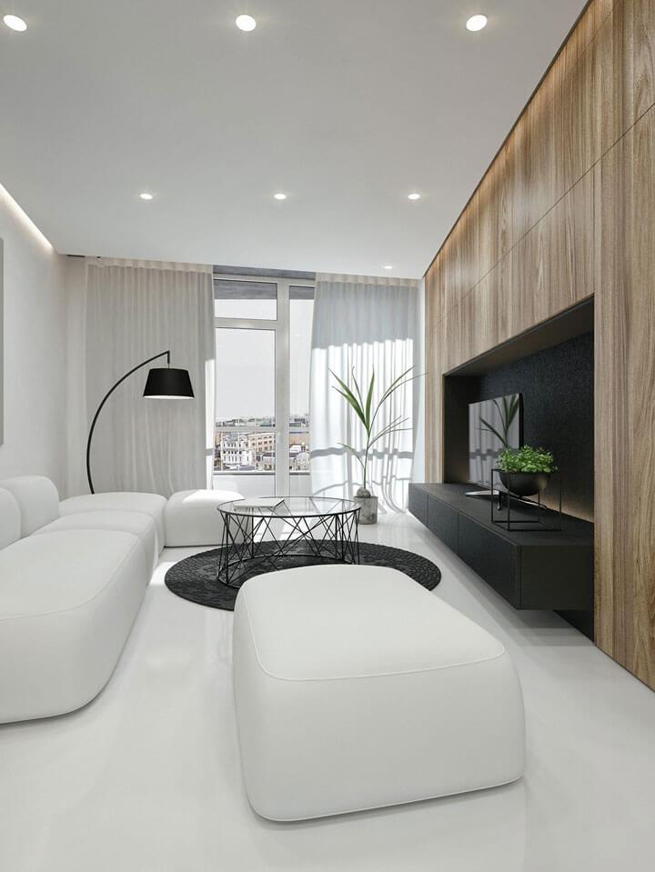 moderne living met led staanlamp en spots