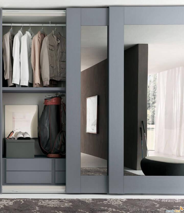 moderne kleerkast met spiegel schuifdeuren