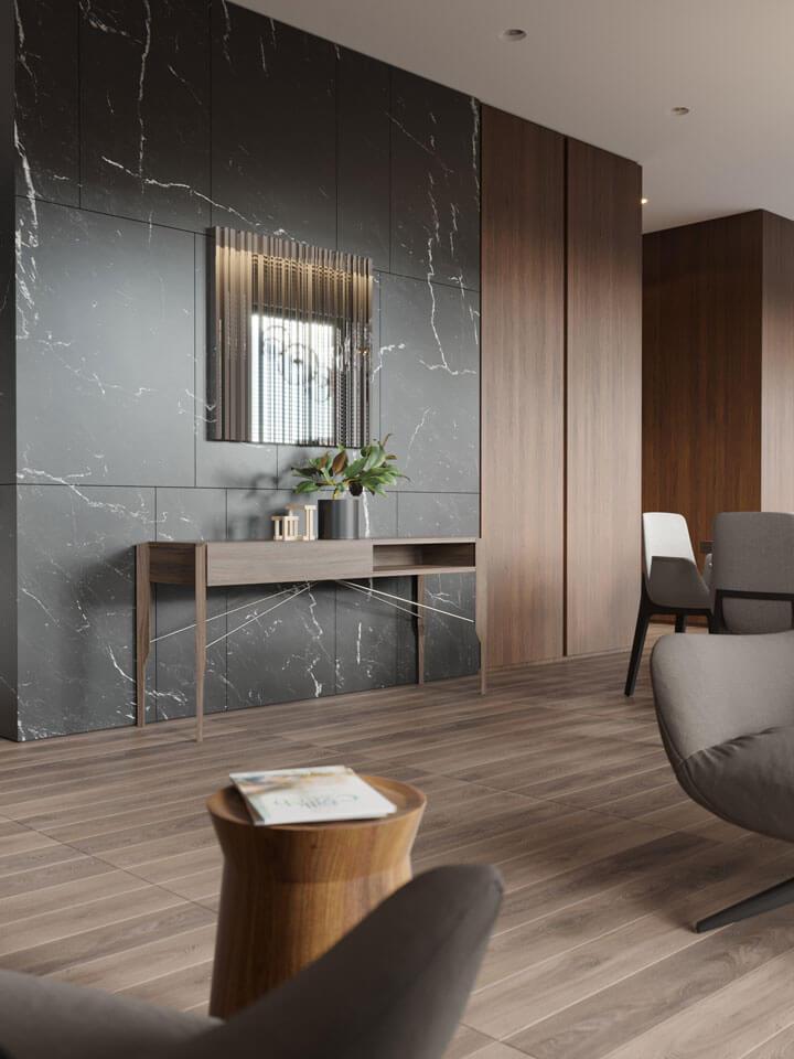 muurtegels woonkamer zwart marmer