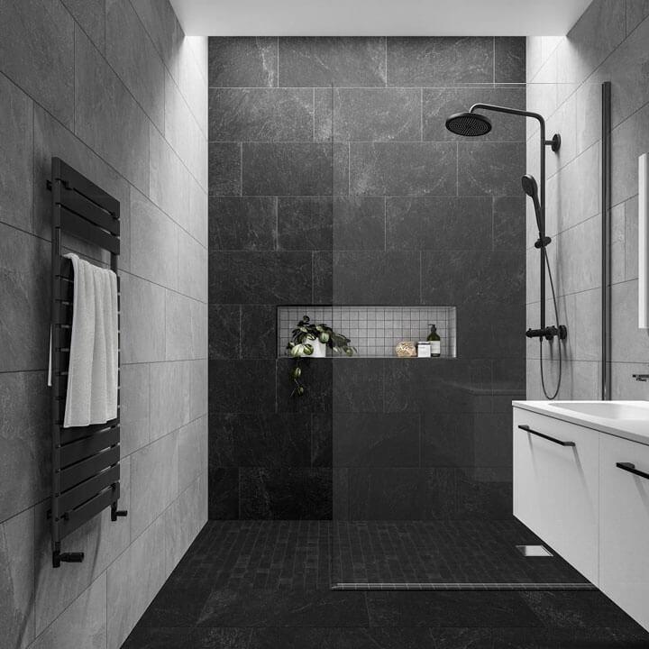 Wonderlijk 8x Zwarte tegels in de douche - woonmooi ZN-12