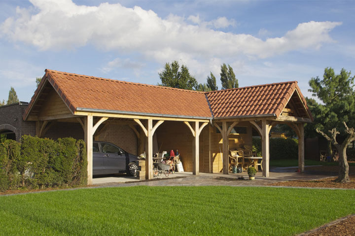 tuinhuis met dakpanplaten