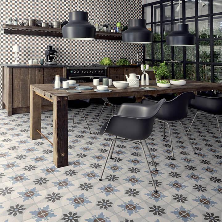 vloer van cementtegels in de keuken