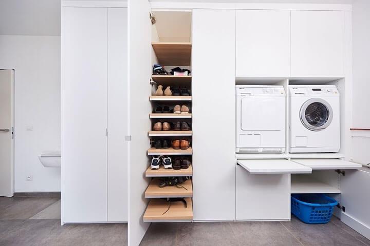 wasmachine en drookast in inbouwkast