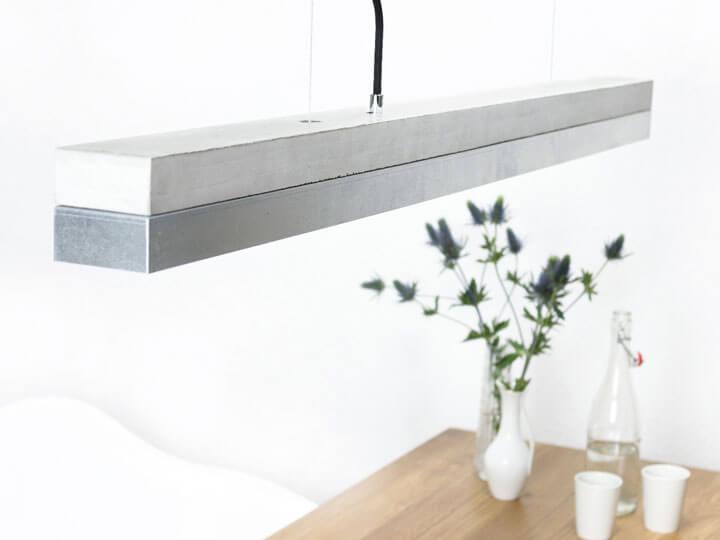 hanglamp beton en RVS roestvrij staal