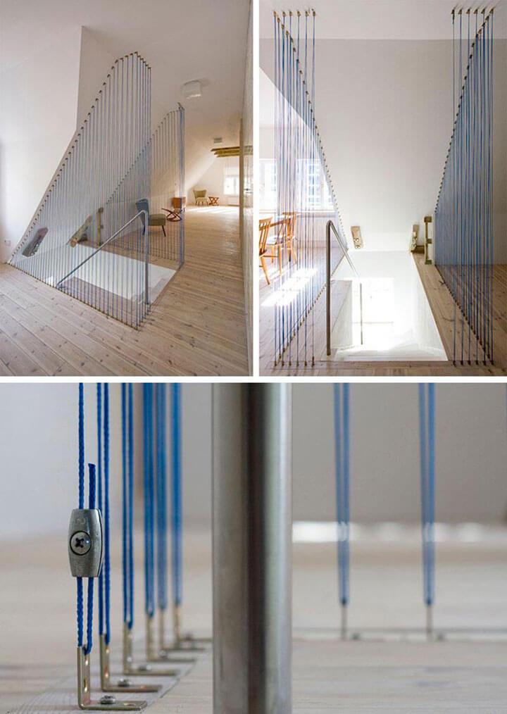 zoldertrap railing blauw touw