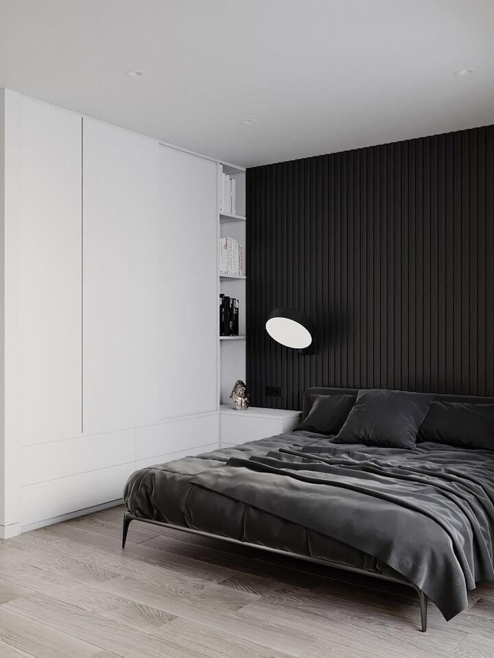 slaapkamer zwarte achterwand