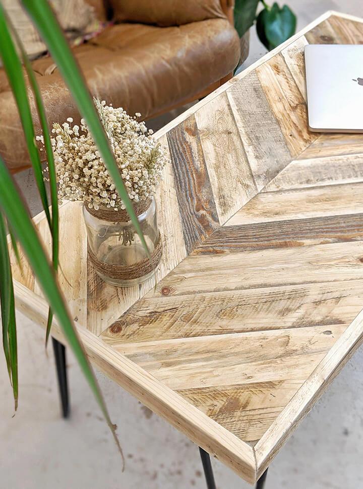 salontafel met houten visgraat blad
