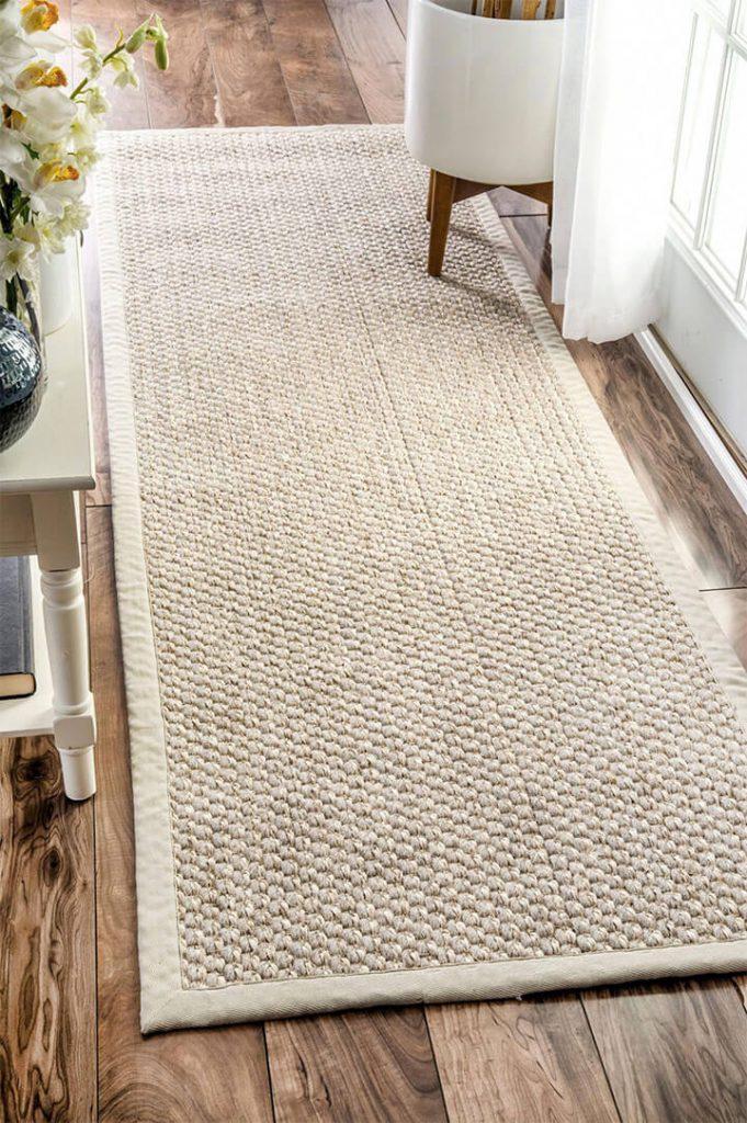 beige sisal tapijt langwerpig