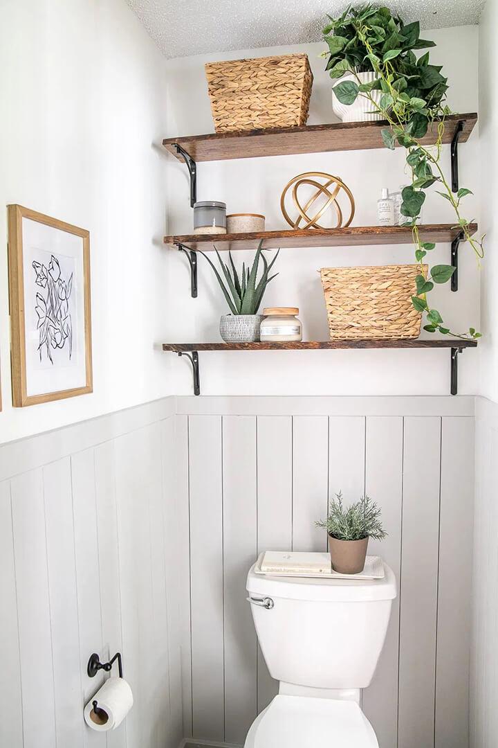 toilet decoratie ideeen wandplank met plantjes